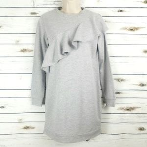Love Fire Ruffle Front Sweatshirt Top Gray Small